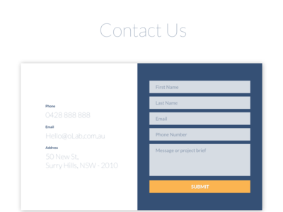 Contact us section design for oLab.com.au branding website design ux ui responsive agency website o logo minimalist design website contact us olab