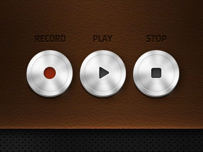 Player interface icons player play stop record ui icons button icon texture leather