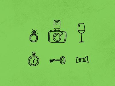 pompom - wedding handmade icons web icons icon handmade wedding ring camera wine watch key draw bow tie invitation