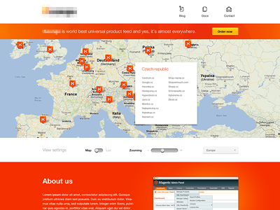 Product page ui design clean map switch slider red orange homepage product pin white space