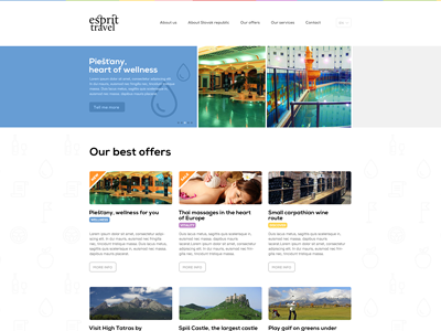 Esprit travel pictopro webdesign colors website slider menu typography colour button icons minimalist travel agency white space
