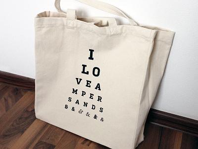 Silk screen print bag typography ampersand technique silk screen