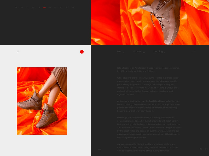 Filling Pieces ux ui adencys ecommerce shop e-commerce design e-commerce wordpress blog theme wordpress development wordpress design wordpress blog woocommerce shopify theme shopify plus shopify filling pieces shoes shop app app concept ecommerce app ecommerce