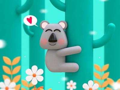 Tree Hugger design character illustration bear koala cute 3d character design graphic design
