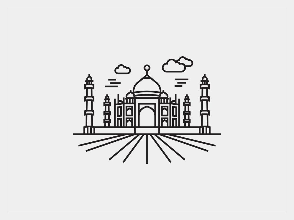 Taj Mahal (Line the place) portfolio behance work project line icon india illustration dribbble logo