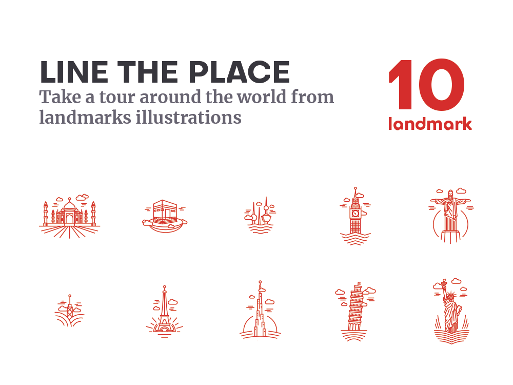 Line the place collection (Free Download !!) illustraion illustrator world free linear icons lineart line design download landmarks landmark icons icon illustration dribbble logo