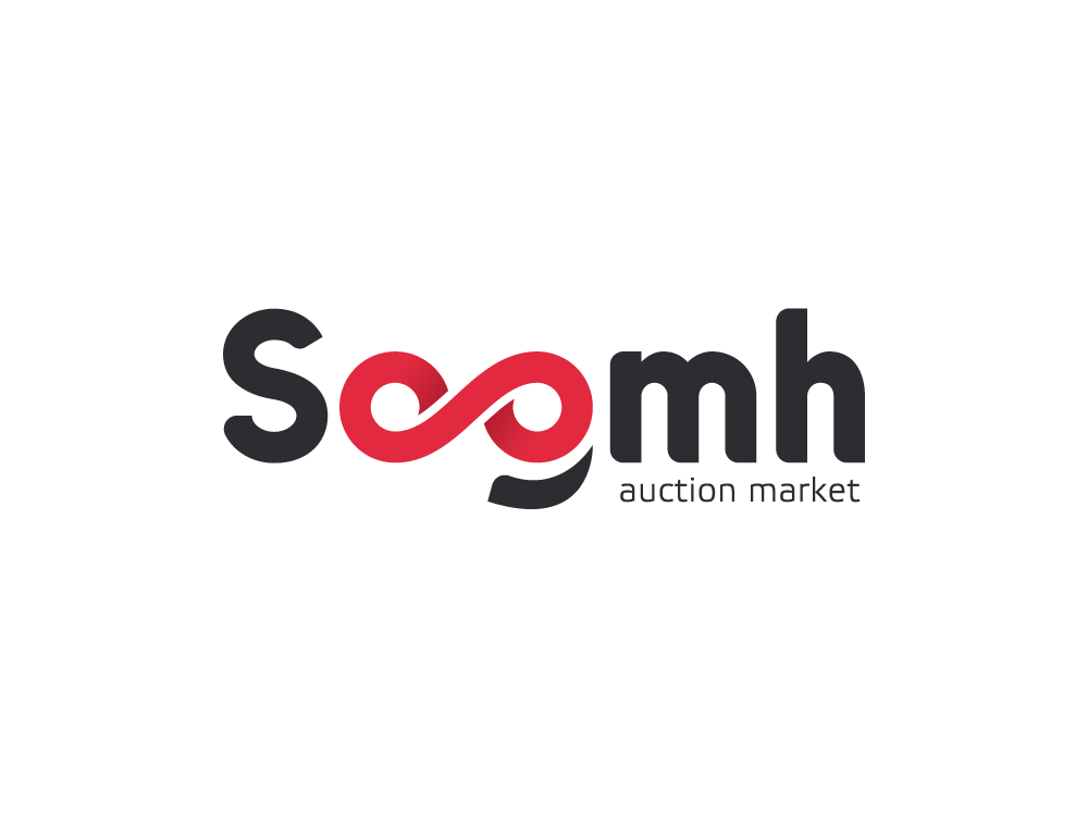 Soomh - auction market classified market auction red logotype logo dribbble