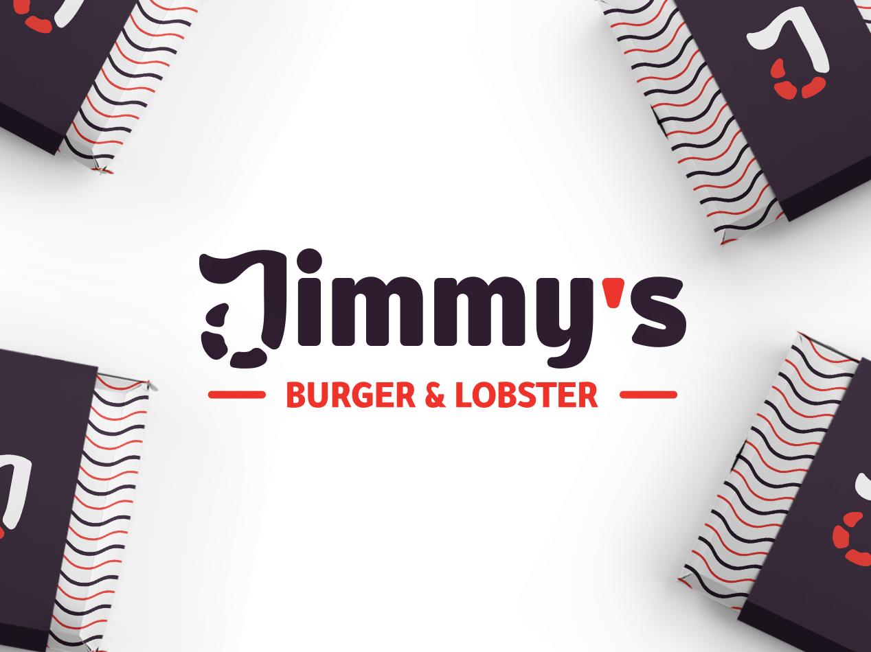 Jimmy's - Burger & lobster branding brand food resturant lobster burger orange type logotype dribbble logo