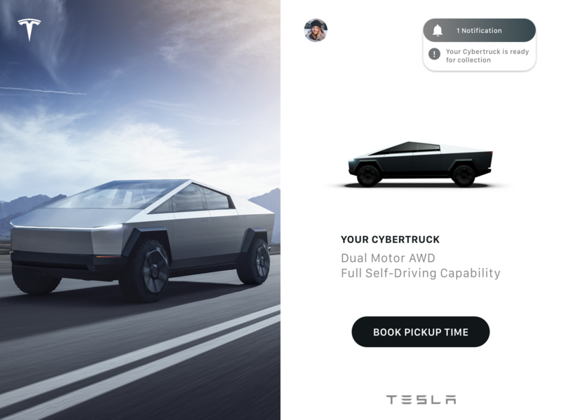 Daily UI 027 - Dropdown Menu notification order confirmation cybertruck tesla