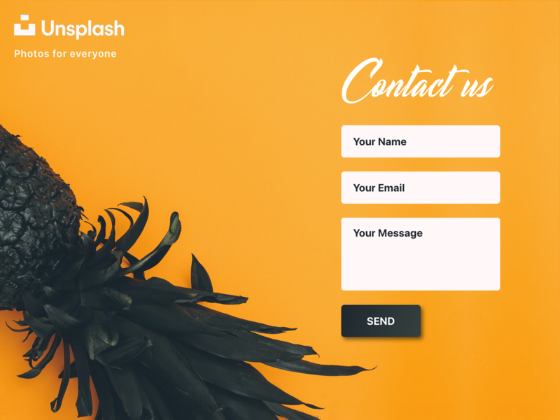 Daily UI 028 - Contact Us pineapple contact form contact us unsplash
