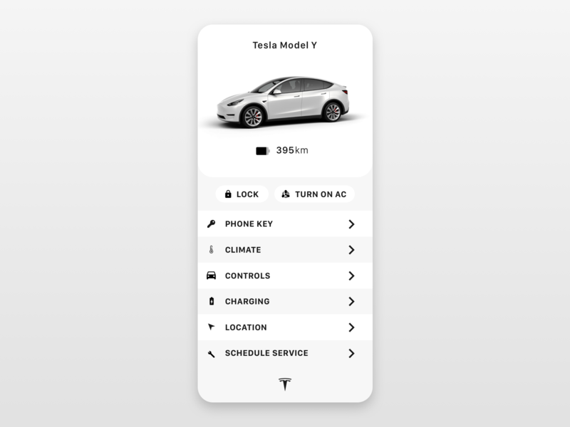 Daily UI 034 - Car UI carkey key smartphone app model y tesla car