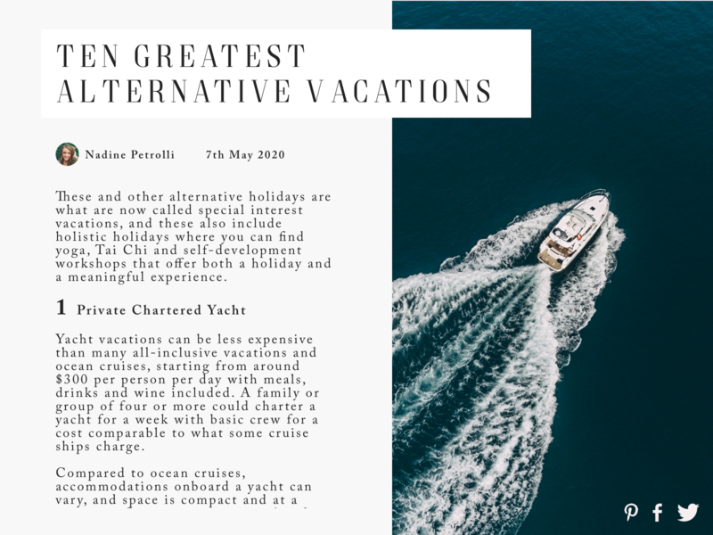 Daily UI 035 - Blog Post top 10 blogging blog vacation yacht