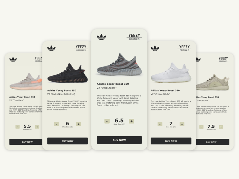 Daily UI 045 - Info Card shoes info card yeezy