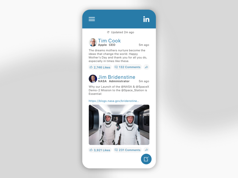 Daily UI 047 - Activity Feed linkedin social feed activity