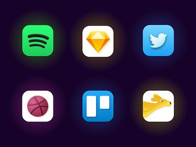 Daily UI 55 - Icon Set neumorphic big sur icon set logo trello dribbble twitter sketch spotify