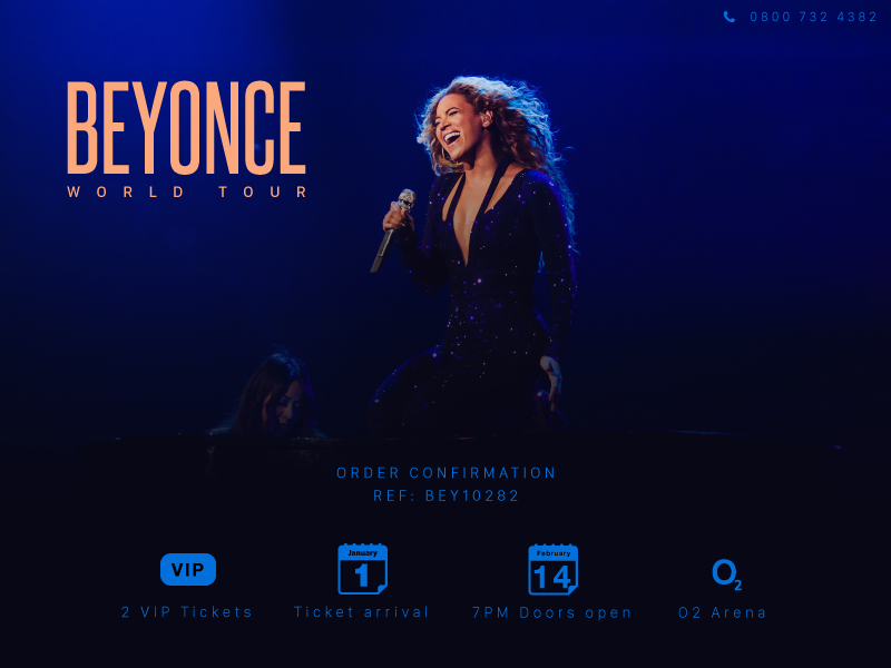 Daily UI 017 - Email Confirmation email confirmation ticket concert beyonce