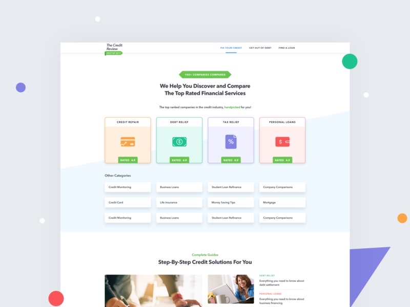 The Credit Review    Landing Page webdesign website design website design hero section uiux uidesign clean ui clean cards icon review rating loan landing landingpage finance business finance debit credit