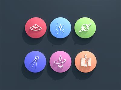 Mozcon 3d Color Icons button icon color 3d space ufo planet rocket