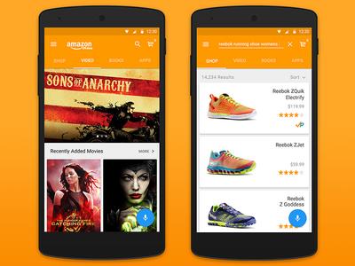 Amazon Material Design  ux ui motion design mobile shopping app material design