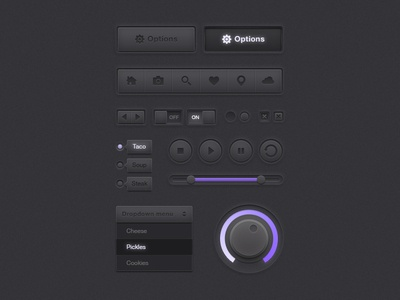 Darkpurple UI Kit dark ui button kit web purple player slider drop-down icon
