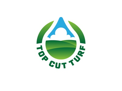 Top Cut Turf sky drop liquid grass turf lawn care identity branding brand logo