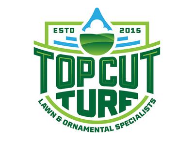 Top Cut Turf sky drop liquid grass turf lawn care identity branding brand badge logo