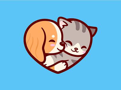Petopia  🐱🐶 hugging happy heart kitty cat illustration branding cute smile dog pet love logo