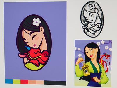 Mulan happy cute mark beauty love strong dragon asian chinese logo character mushu mulan movie disney
