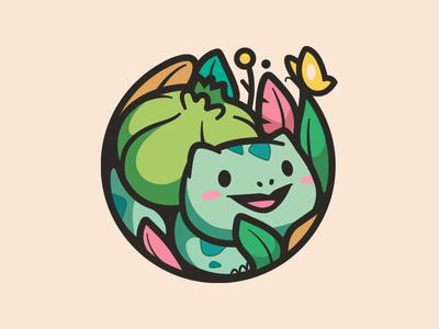 Bulbasaur character cartoon butterfly leafs animal identity happy friendly illustration cute fun earth day logo pokemon nature plant
