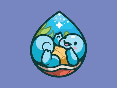 Squirtle squirtle illustration love star character underwater smile sea fun nature logo brand pokemon cute happy icon water drop