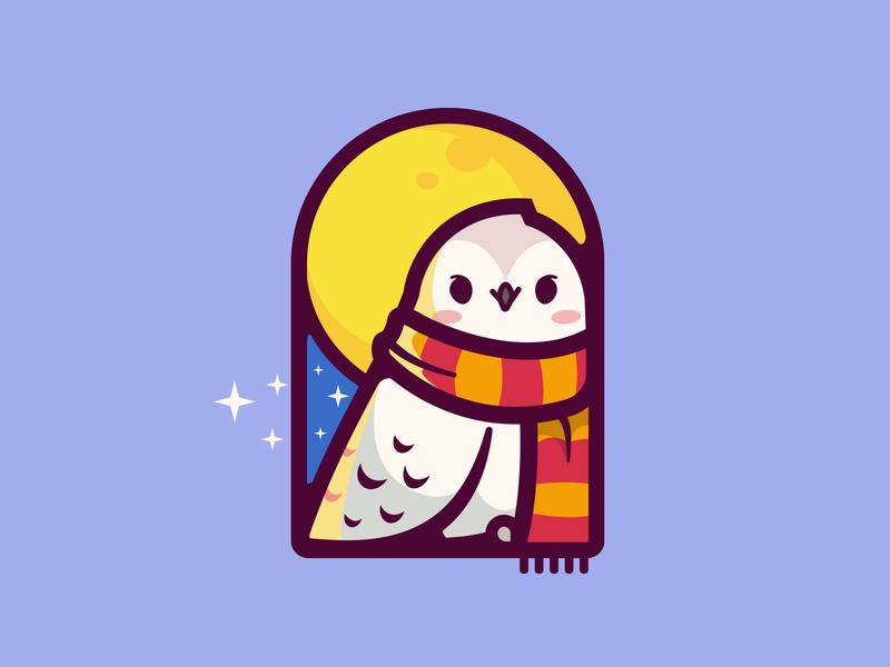Hedwig 🦉❄️ logo icon hogwarts school wizard mascot pet white character smile love fanart geometric cute potter magic movie owl hedwig harry