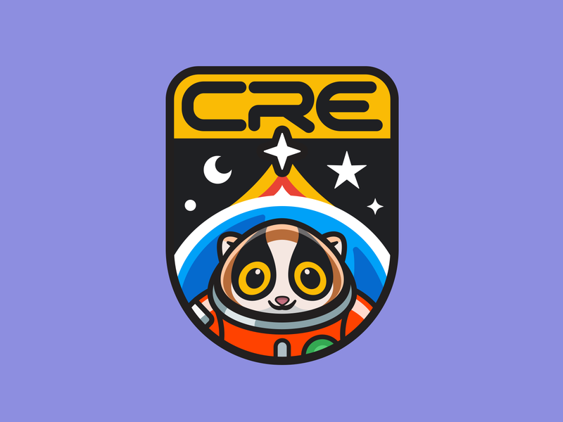 Customer Reliability Engineering nasa astro patch cute happy friendly joy cute character animal stars planet badge space slow loris logo illustration mascot
