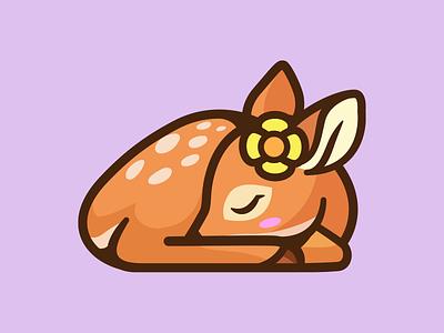 Little Deer identity character mascot sleeping sleep lazy nature animal flower illustration love cute little deer logo