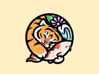 Tiger & Koi asian culture illustration cute fun character tiger koi playful round nature symbol animal logo cute