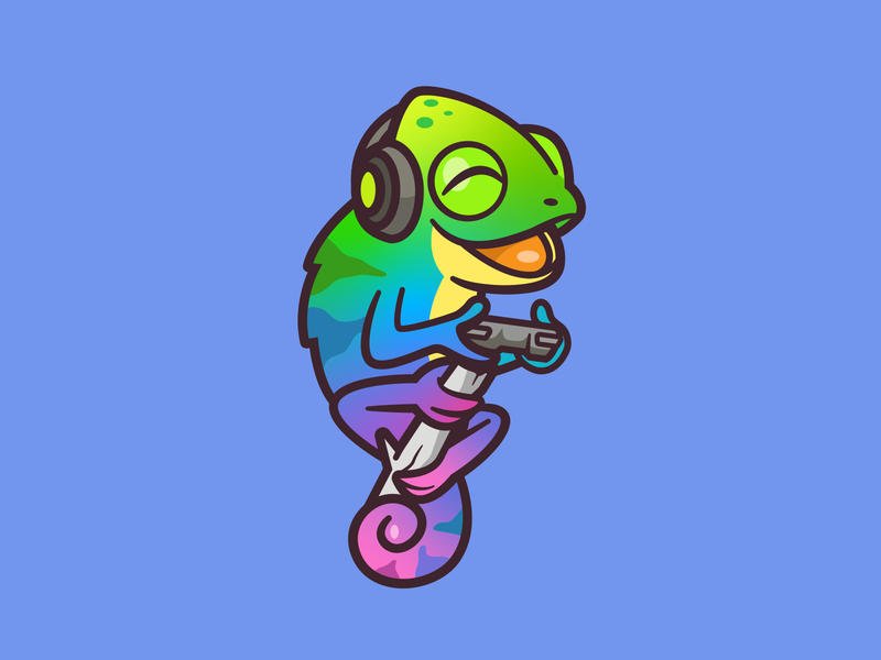 Polychromica cartoon mascot happy playful illustration online fun identity design joy twitch channel colorful animal play games chameleon brand logo