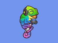 Polychromica cartoon mascot happy playful illustration online fun identity design joy twitch channel colorful animal play games chameleon brand logo