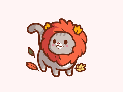 Autumn Lion animal brand happy illustration mascot cartoon character friendly joy leafs fun identity logo cute smile lion cat autumn