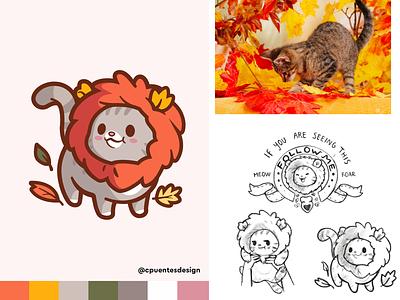 Autumn Lion animal brand happy illustration mascot cartoon character friendly joy leafs fun identity logo cute smile lion cat autumn