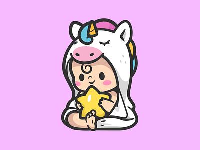 Nanny EQ awareness support icon kids emotional fun star smile happy cute baby unicorn nanny logo brand