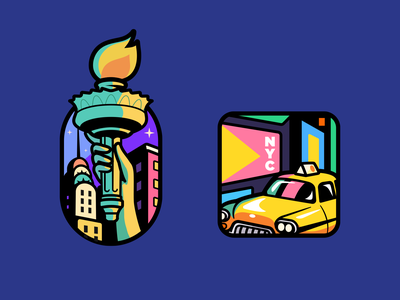 NYC taxi cap illustration love cartoon branding colorful outline nyc logo brand