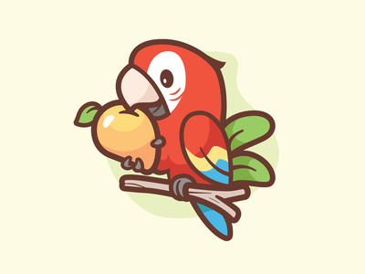 Scarlet macaw eating fruit grab happy friendly mango stick cute icon leafs colorful parrot scarlet macaw logo brand branding