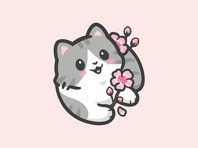 Neko Decal character mascot kitty cherry blossom kawaii playful gray cartoon pet brand cute animal identity cat decal logo
