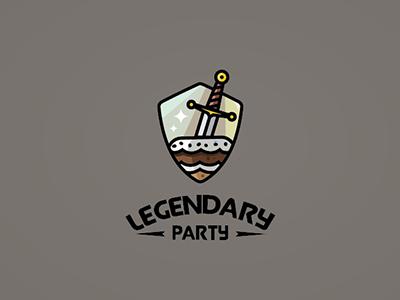 Legendary Party legendary party icon logo illustration sword cake
