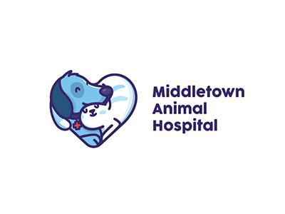 Middletown Animal Hospital illustration animal cat dog icon logo hostipal