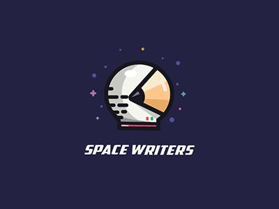 Space Writers universe writer spaceman stars pencil illustration logo space
