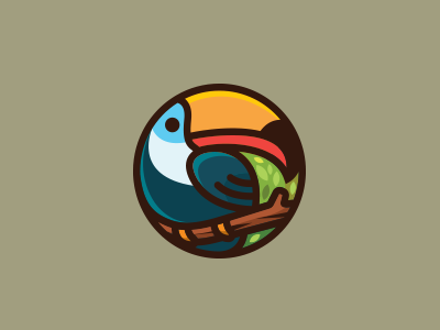 Toucan bird animal nature illustration logo toucan circular rounded