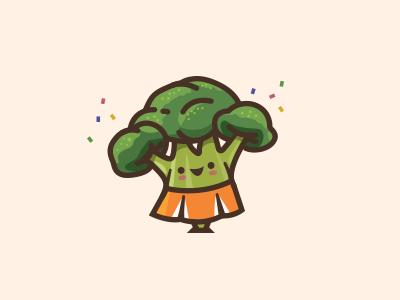 Broccoli Cheerleader illustration green logo icon healthy broccoli veggies