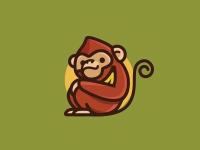 Epitome Rev 1 illustration outline banana identity cute animal logo icon monkey