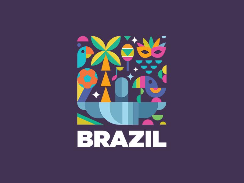 Brazil south america football music dance stickermule symbol rio samba monument christ carnival contest icon logo culture brazil fauna illustration colorful identity
