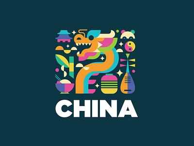 China logotype cute rice bamboo panda china dragon ying yang logo culture chinese illustration colorful identity
